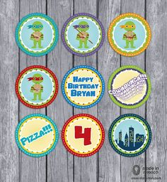 Teenage Mutant Ninja Turtles Inspired Birthday Party Circles to make Cupcake Toppers, Digital Download DIY Personalized TMNT Party Printable