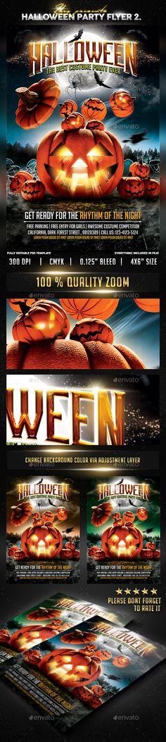 Kids Halloween Flyer Template PSD #design Download http - party flyer template