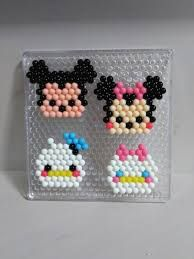 Mickey & Minnie, Donald & Daisy Pony Bead Patterns, Hama Beads Patterns, Beaded Jewelry Patterns, Beading Patterns, Perler Bead Templates, Diy Perler Beads, Minnie Mouse Template, Bead Crafts, Diy And Crafts