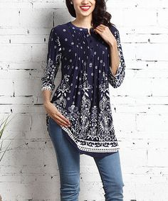 Another great find on #zulily! Navy Suzani Notch Neck Pin Tuck Tunic #zulilyfinds