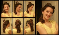 How to do Belle's hair. Step by step and video.  I'm 90% sure I will need this for Halloween one year.