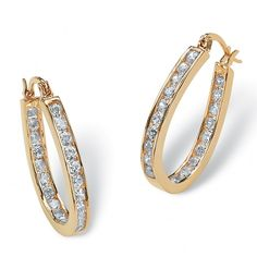 2.52 TCW Round Cubic Zirconia Inside-Out Hoop Earrings in Yellow Gold Tone at Viomart.com