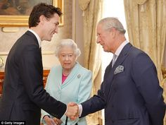 Canadian Prime Minister Justin Trudeau shakes hands with Prince Charles as Queen Elizabeth looks on during a reception at the Commonwealth Heads of Government Meeting in Malta on Nov. Prince Philip, Prince Charles, Justin Trudeau, Pm Trudeau, Princess Margaret, Princess Diana, Duchess Of Cornwall, Lady And Gentlemen, Queen Victoria