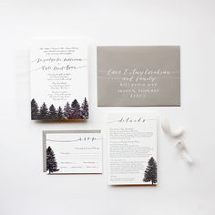 """Brides.com: Winter Wedding Stationery """"Big Sky"""" custom calligraphy and black letterpress wedding invitation suite, starting at $745 for 100 invitations, Cast Calligraphy & DesignPhoto: Courtesy of Cast Calligraphy & Design"""