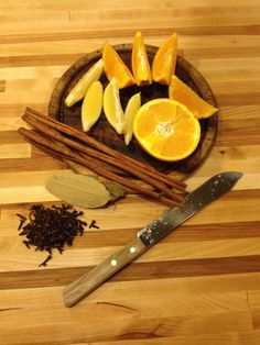 BEST CHRISTMAS RECIPE EVER!! 1 large orange (or 3 small), 1/2 lemon, 1/4 cup whole cloves, 2 bay leaves, 3-6 cinnamon sticks (depending on size). Place in pan, cover with water. Bring to a boil, then simmer, adding more water as necessary, for up to two whole days.