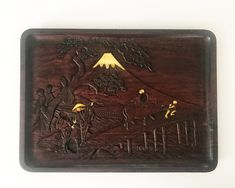 Your place to buy and sell all things handmade Vintage Wood, Vintage Items, Nicely Done, Country Scenes, Wood Tray, Carved Wood, Vintage Japanese, Types Of Wood, Fuji