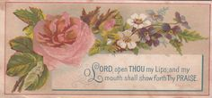 O Lord Open Thou My Lips Pink Rose Victorian Religious Card C 1880s | eBay