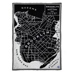 Vintage City Map Brooklyn Wool Throw design by Faribault