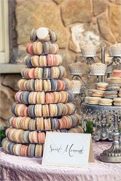 Such lovely colors! French macaron tower and dessert display #wedding #weddingdessert #desserttable #macarons #vintage