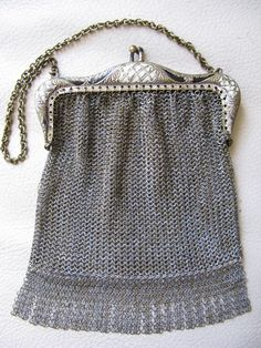 Antique Art Deco Silver Frame Brown Tan Cream Enamel Chain Mail Purse W&d Bags, Handbags & Cases