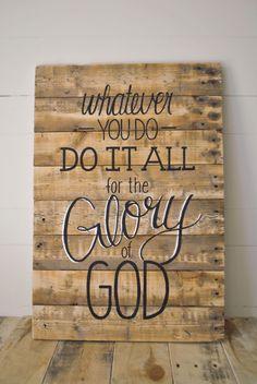 Glory- Reclaimed Wood Wall Sign- Hand-painted wall art. $110.00, via Etsy.