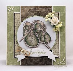 Christening invitation. Patterned paper by Pion Design, North Star Stamps image colored with Copics.