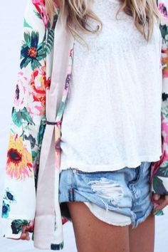 | I'm in love with this look! Plain Jean short, plain white top with a jacket that makes it all POP!| -Leia xoxo