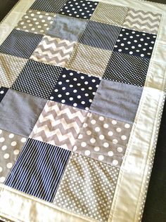 Baby Boy Crib Quilt  in modern navy and grey... This is cute. I like how the border really lightens it all up.