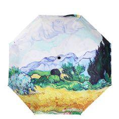 Van Gogh Famous Oil Painting Umbrella Three Folding paraguas Women Parasol Anti-uv Waterproof Rain Umbrellas #Affiliate