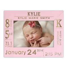 Birth Announcement Frame – On this birth announcement frame, we engrave the newborn's name and birth stats! This contemporary picture frame is perfect for new moms and dads to remember that special day.  All orders are placed Directly through Personalized Wood Engravings Website to Place an order visit www.personalizedwoodengravings.com   Receive a 5% Discount on ALL orders PLUS Free Shipping by using Code: pamcraven @ Checkout