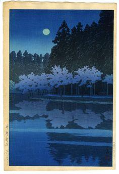 川瀬巴水(かわせはすい) - 井之頭の春の夜 - 新版画販売 - 浮世絵ぎゃらりい秋華洞