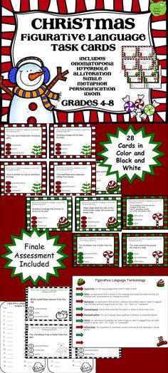 The Christmas Figurative Language Task Cards are aligned with the Common Core State Standards and include color and black and white versions as well as a finale assessment.   Introduce or review figurative language with this fun Christmas activity!