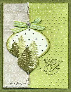 handmade Christmas card from Cre8n' Memories ...greens and gray ... luv the trees images in the die cut ornament ... great design ... Close To My Heart