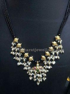 Different Style Black Dori Necklaces - Jewellery Designs Gold Earrings Designs, Gold Jewellery Design, Bead Jewellery, Pendant Jewelry, Beaded Jewelry, Bridal Jewelry, Silver Jewellery, Gold Jewelry Simple, Collor