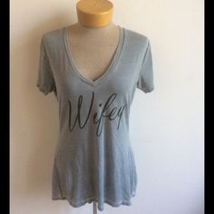"""Wifey Grey Burnout v neck Grey v neck soft poly cotton burnout fabric """"Wifey """"  these t shirts are a ladies fitted super soft and almost gone. Tops Tees - Short Sleeve"""