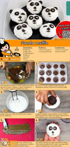 Panda-Muffins These panda muffins will be eaten in no time! The panda muffin recipe video is easy to find using the QR code :] pie muffins with SRhubarb Streusel Muffins Muffin Recipes, Cupcake Recipes, Baking Recipes, Coconut Recipes Video, Homemade Potato Skins, Make Your Own Cookbook, Panda Cupcakes, Jaffa Cake, Baking Muffins