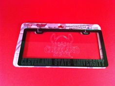 CLEVELAND STATE UNIVERSITY LICENSE PLATE FRAME MIRROR ETCHED GLASS LOGO GREEN