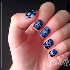 Blue diamond gradient nail art http://instagram.com/polishedbycolette  #nails #nailart #gradient #ombre #DIY #outlines #naildesigns #summer