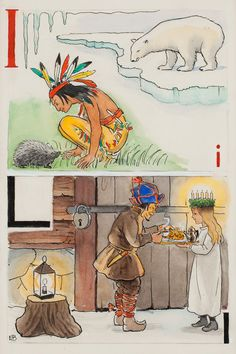 "ELSA BESKOW, ""I-Indian och L-Lucia"". Signed E.B. From ""Vill du läsa I"", page 8, picture 12,13. .... - The Spring Classic Sale, Stockholm 562 – Bukowskis"