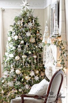 The Decorated House: ~ Christmas Tree & Mantel Decorations ~ White and Silver with Mercury Glass