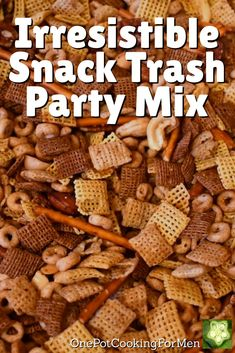 This irresistible snack trash party mix is everybody's holiday favorite!  We've spiced our version up with fiery Chipotle Tabasco Sauce!