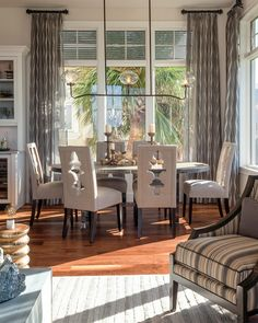 Windover Model at Barefoot Beach contemporary dining room - Home Page Window Treatments Living Room, Living Room Windows, Living Room Decor, Dining Room Curtains, Dining Room Chairs, Dining Rooms, Diy Curtains, Short Curtain Rods, Interior Design Boards