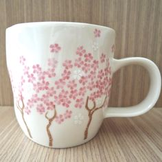 Starbucks Taiwan fully handmade clay cherry blossom mug. Released in Spring 2011. Made in Japan