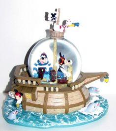 Your WDW Store - Disney Snow Globe - Pirate Ship - Mickey, Goofy ...