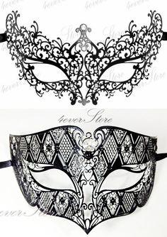 Elegant & Charming Laser Cut Mask Set - Black Venetian Vine Masquerade Mask and Black Masquerade Mask