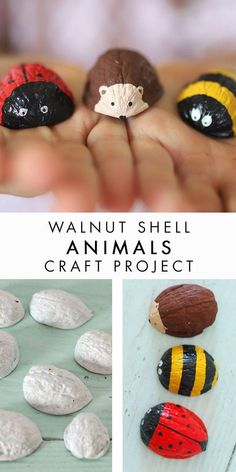Walnut Shell Animals, such a sweet craft to do with the kids! - Juan Ángel Duran - Walnut Shell Animals, such a sweet craft to do with the kids! Walnut Shell Animals, such a sweet craft to do with the kids! Kids Crafts, Crafts To Do, Fall Crafts, Christmas Crafts, Craft Projects, Arts And Crafts, Craft Kids, Wood Crafts, Shell Crafts Kids