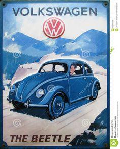 Uitstekende advertentie van de kever van Volkswagen Redactionele Stock Afbeelding