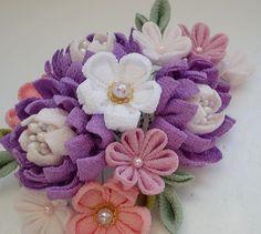 Cherry blossom made of Chirimen,Kimono fabric Flowers In Hair, Fabric Flowers, Baby Crafts, Diy And Crafts, Japanese Paper Art, Japan Flower, Sakura Cherry Blossom, Japanese Flowers, Kanzashi Flowers