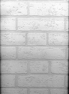 Raised Brick White Textured Paintable Prepasted Wallpaper 497-99423