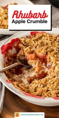 A twist on traditional apple crumble, RHUBARB AND APPLE CRUMBLE combines apple and rhubarb for a tasty dessert that's both tart and sweet, soft and crunchy! # rhubarb # ME: Easy& yum, Rhubarb And Apple Crumble, Rhubarb Gin, Delicious Desserts, Dessert Recipes, Apple Desserts, Rhubarb Desserts, Yummy Food, Deserts, Desert Recipes