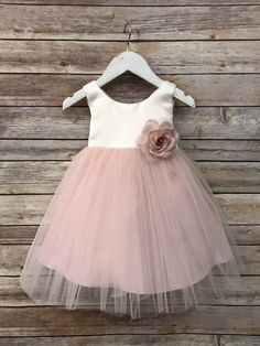 d2aa17d563e Tulle overlay Flower Girl Dress with Pin on Silk Flowers