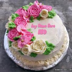 Write Name On Awesome Flower Birthday Cake Muhammad Iqbal