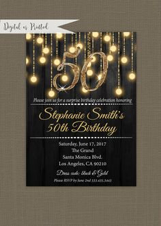 black and gold birthday invitation for elegant woman CoolNew It can be usually good to celebrate and throw a party throughout birthdays but there is definitely a little something extra Distinctive when somebody . Birthday Invitations Black and Gold 50th Birthday Party Decorations, 50th Party, Printable Birthday Invitations, Birthday Celebration, Birthday Parties, Moms 50th Birthday, Gold Birthday, Happy Birthday, Elegant Invitations