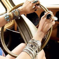 Chunky hippie chic silver cuff bracelets, gypsy style gemstone rings, boho chic stacked bangles. For the BEST Bohemian fashion & jewelry trends for 2014 FOLLOW http://www.pinterest.com/happygolicky/the-best-boho-chic-fashion-bohemian-jewelry-gypsy-/