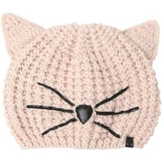 Karl Lagerfeld Women Choupette Beanie Hat With Patches ($73) ❤ liked on Polyvore featuring accessories, hats, beige, karl lagerfeld, beanie hats, beanie cap hat, patch hat and beanie cap