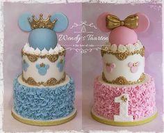 Festa Mickey Baby, Bolo Minnie, Mickey Mouse Cake, Twin Birthday Cakes, Novelty Birthday Cakes, Minnie Birthday, Bolo Barbie, Barbie Cake, Fiesta Cake