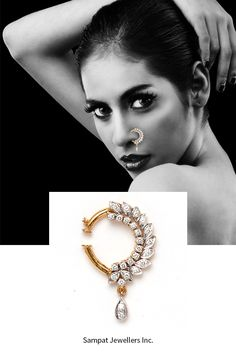 Diamond nose ring for a bride, Nath, Nose hoop ring, nose ring, gold and diamond nose ring, modern nose ring