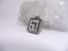Silver Pendent Tfilat Haderech with the letter H