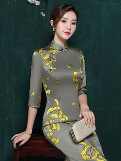 Best 12 Sku Material Mulberry Silk Style Wrap Feature Floral , Split-side Occasion Evening , Banquent , Formal Neckline Stand Collar Type Long Cheongsams Color GRAY Size Size chart: Please consult the size chart we provide for this Oriental Dress, Oriental Fashion, Asian Fashion, Cheongsam Dress, Types Of Collars, Mulberry Silk, Ao Dai, One Piece Swimwear, Chinese Style
