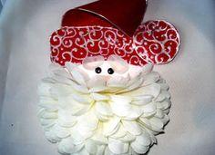 So creative - #Santa #card using silk flower #Christmas